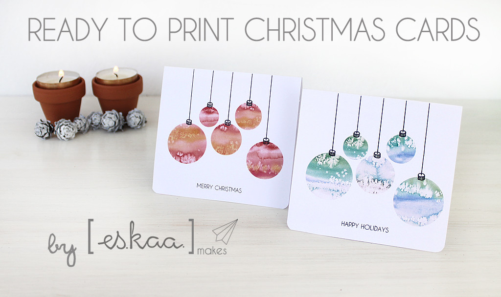 christmas cards baubles ready to print