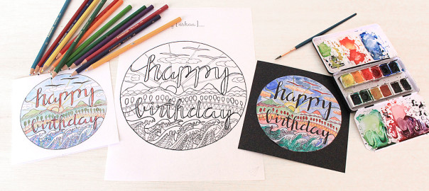 colouring in birthday card