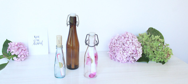 valentine cards in bottle