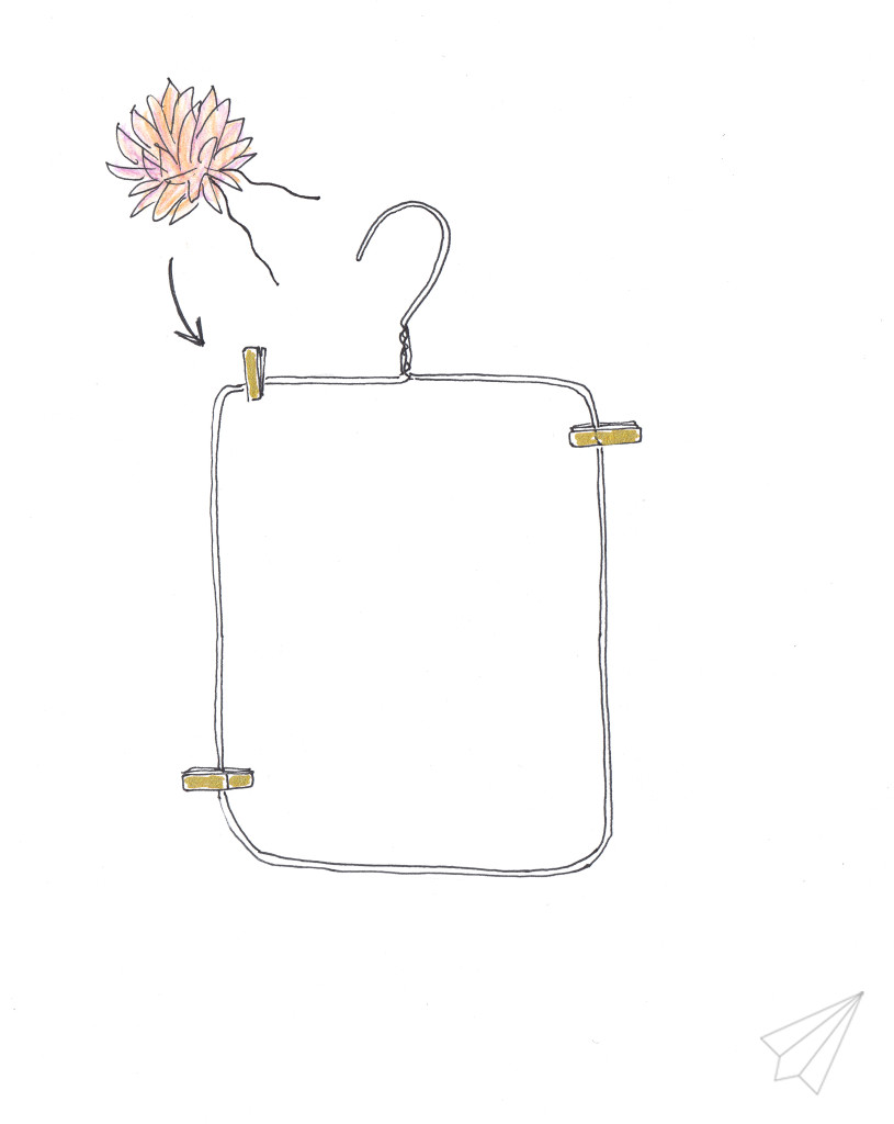 clothes hanger picture frame attach flower