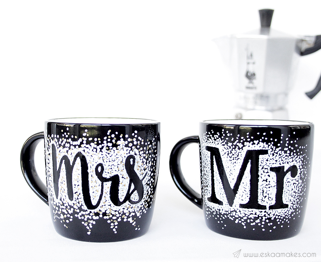 diy lettered wedding mugs