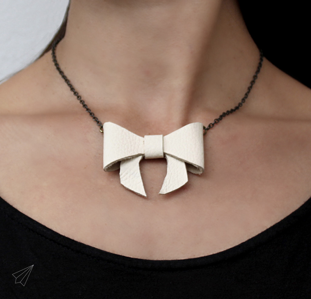 How To Make Leather Bow Necklace 187 Es Kaa Makes