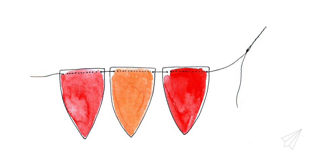 paper bunting threading