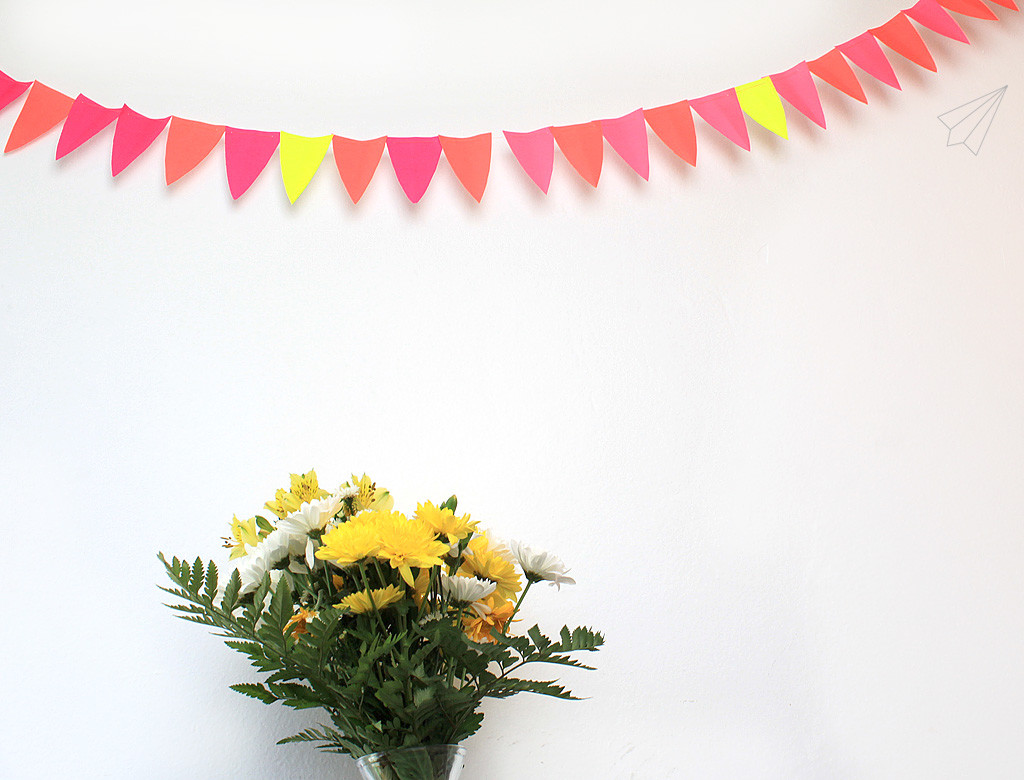 paper bunting with flowers