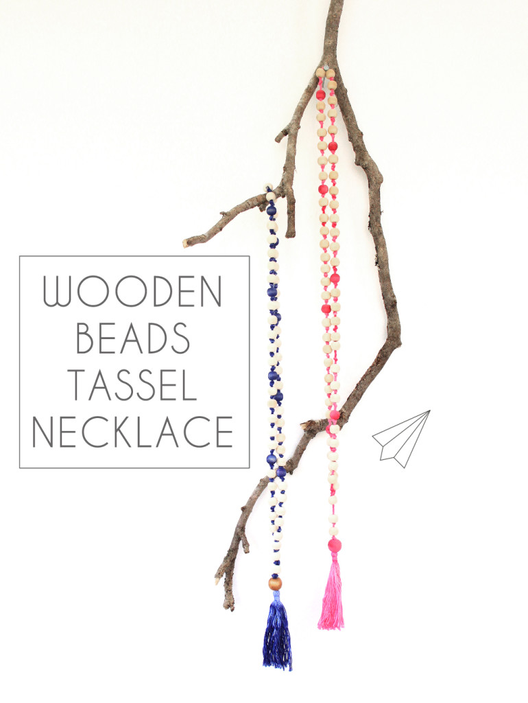 wooden beads tassel necklace title