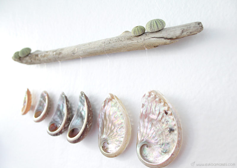 diy shell driftwood wallhanging 3