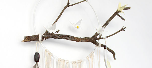 How To Make Dreamcatcher With Branch And Origami Cranes