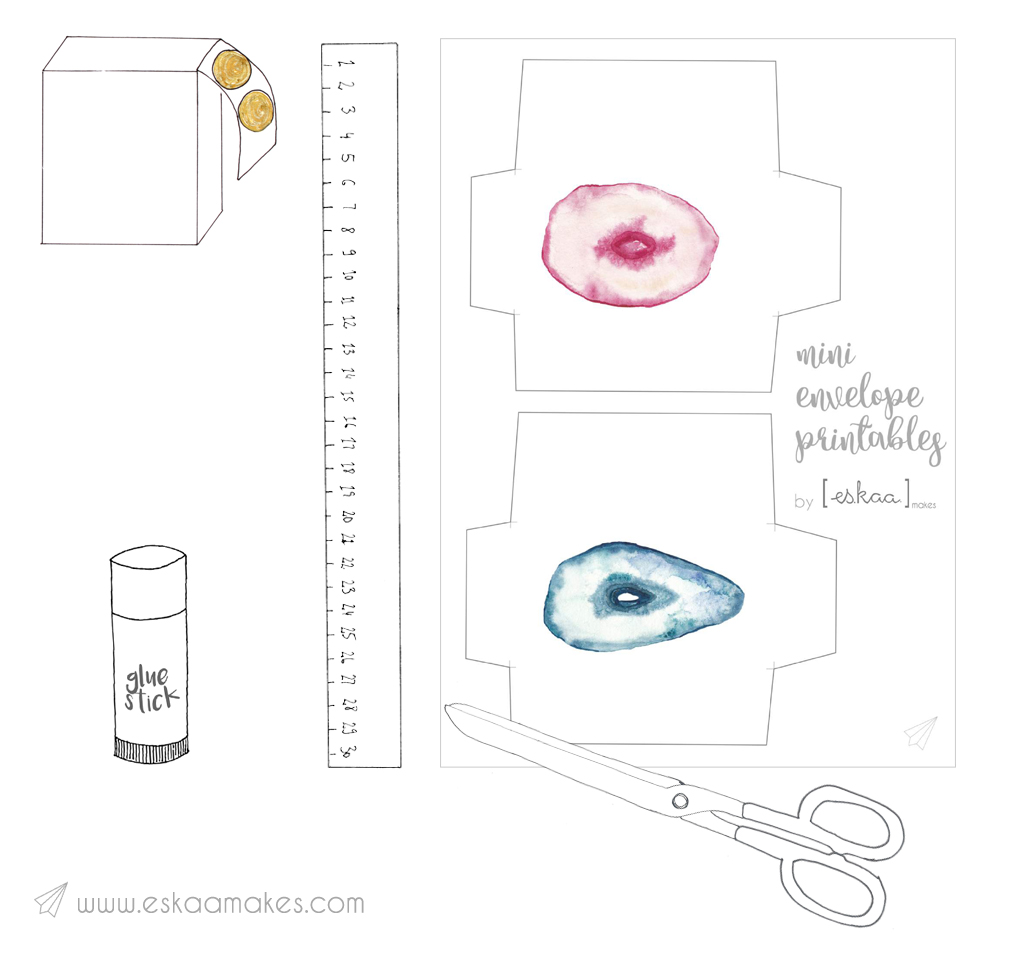 mini envelope printables material