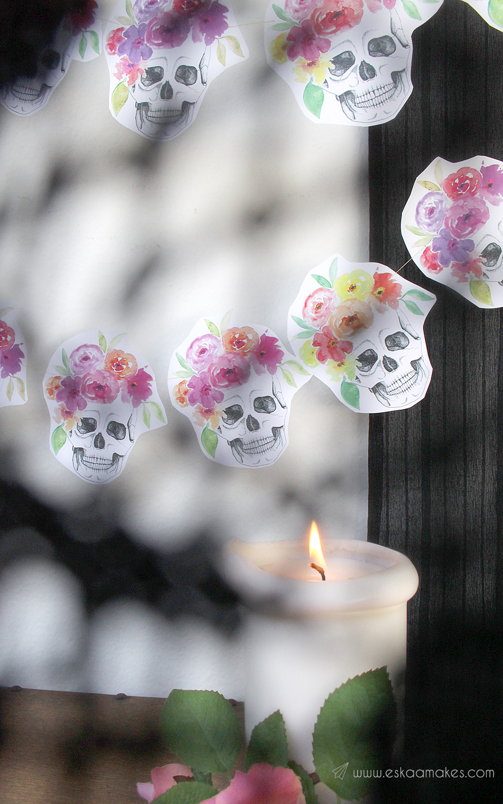 Free printables halloween flower crown skull garland eskaa makes diy flower crown skull garland 3 izmirmasajfo