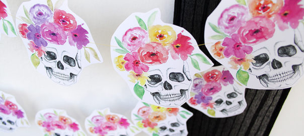 Halloween DIY flower crown skull garland