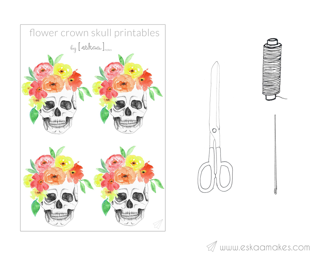 flower-crown-skull-printable-material