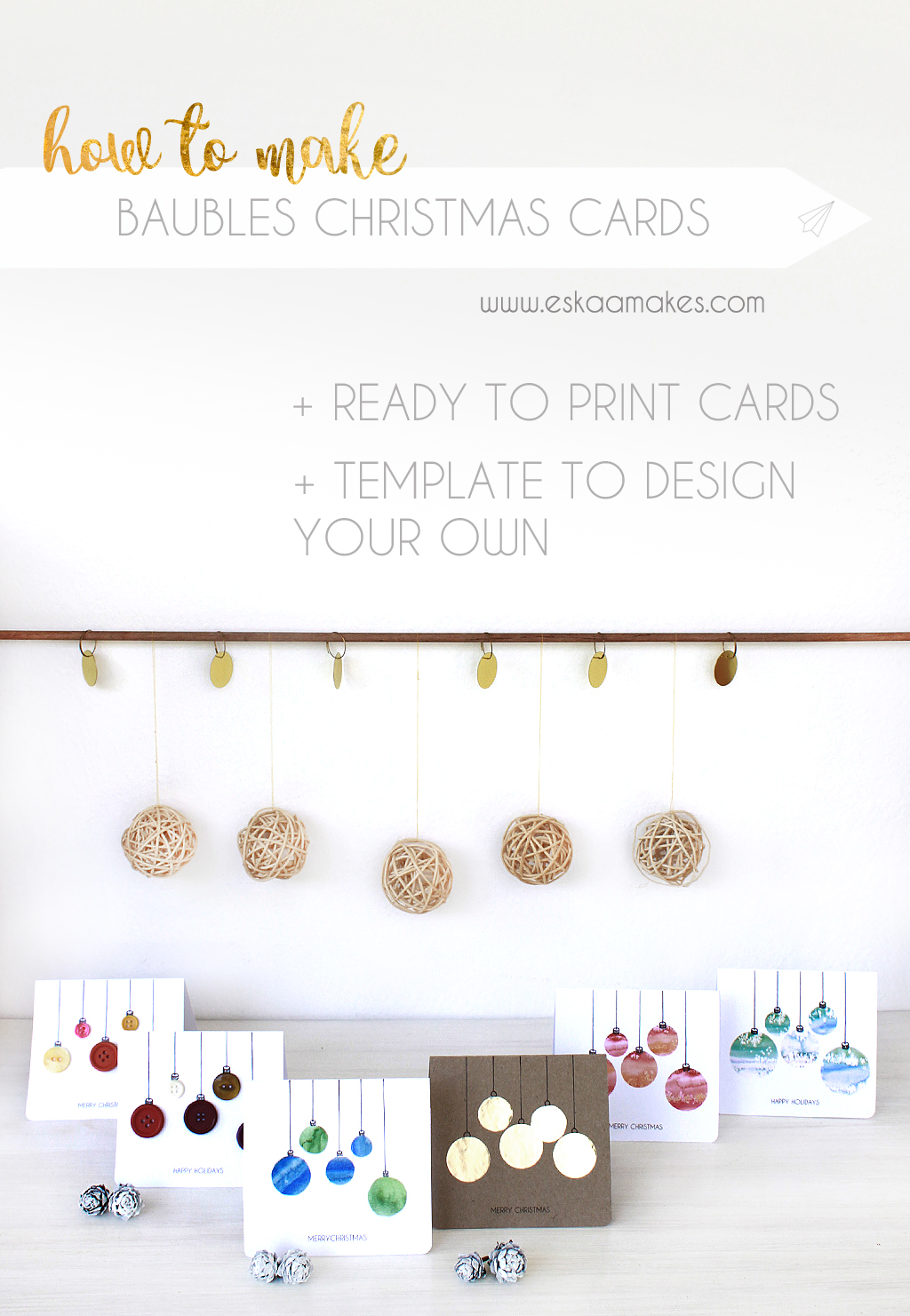 make your own christmas baubles cards