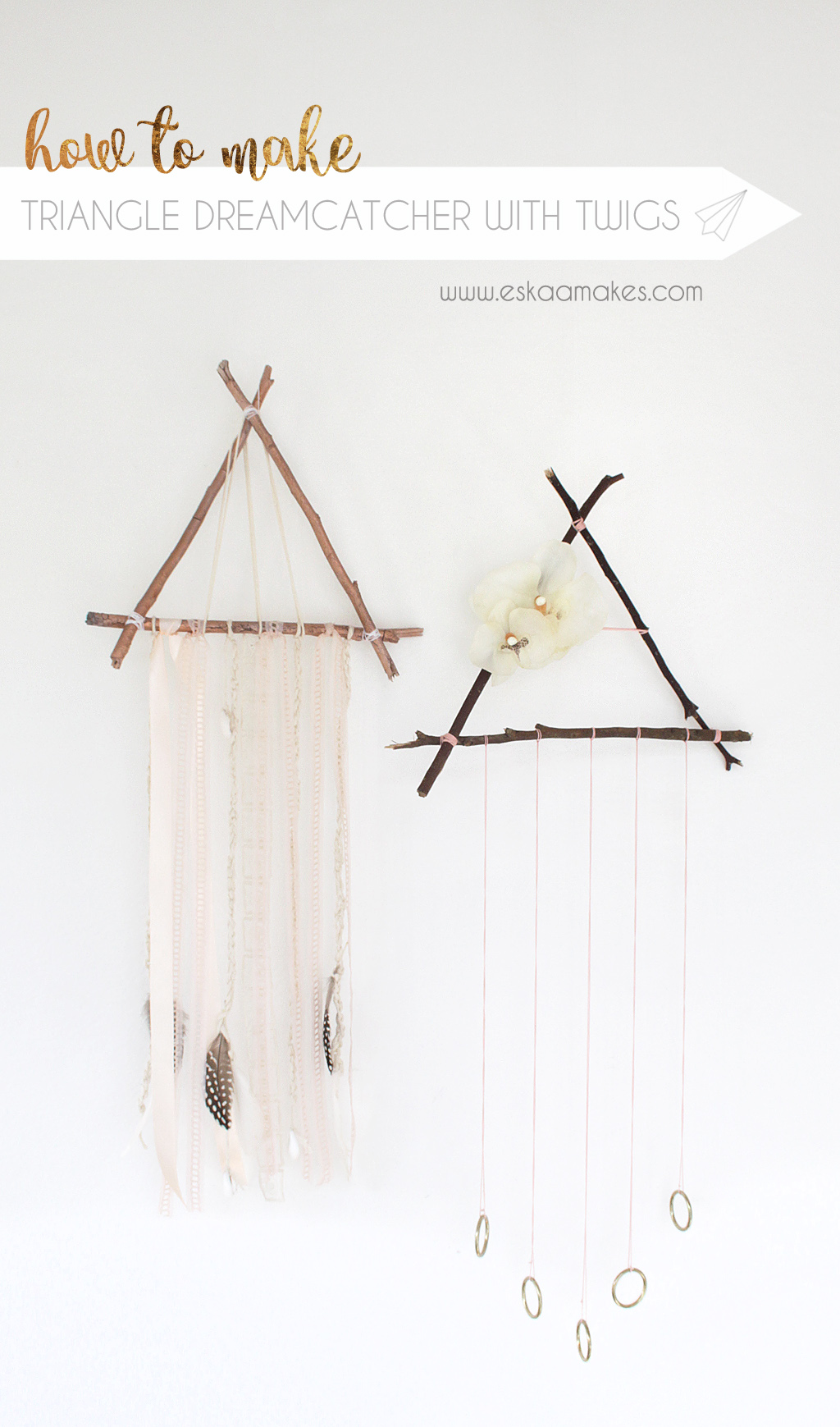 diy triangle dreamcatcher with twigs