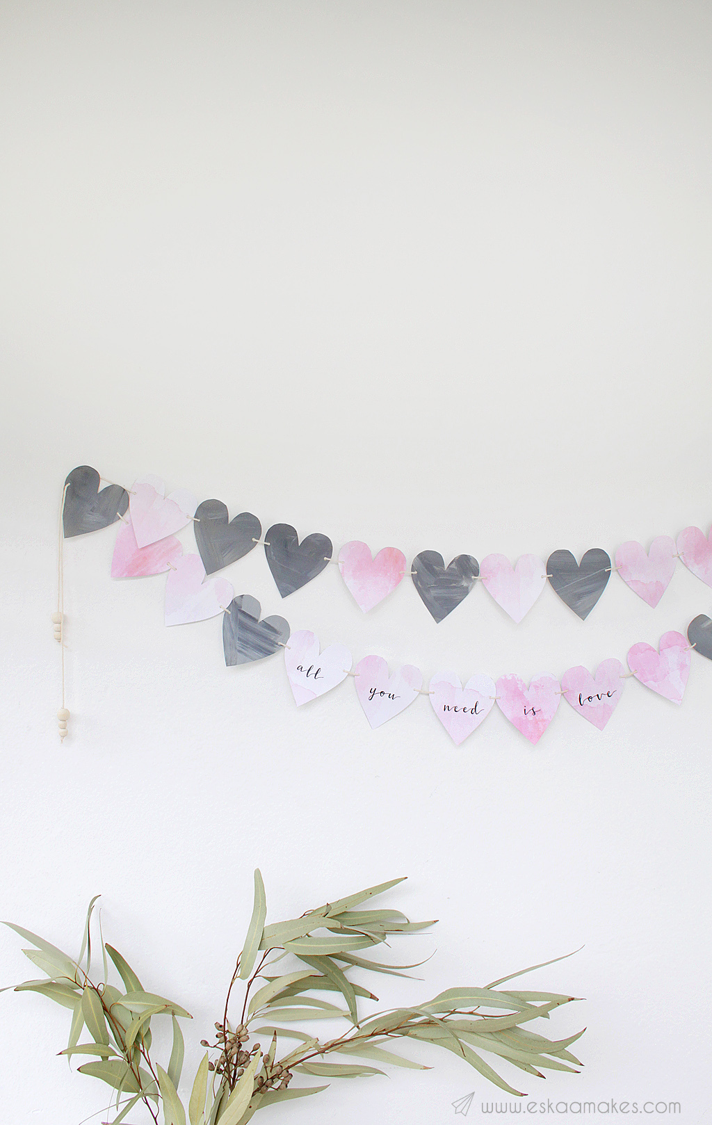 watercolour heart garland printable