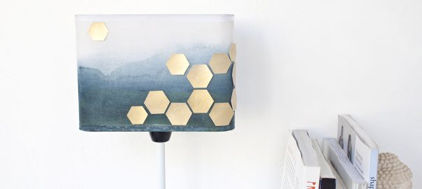 DIY upcycled watercolour lampshade